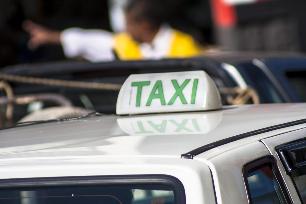 Taxi on street in Sao Paulo city, Brazil